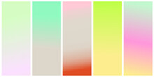 Set Of Vector Gentle Pastel Simple Trendy Gradients. 2021 Collection Of Modern Colors. Palette For Decoration And Design. Isolated. Stretching Color. Green, Gray, Pink, Beige, Blue, Lilac, Terracotta