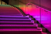 Illuminated Colorful Staircase At Night In Odaiba, Tokyo カラフルな光に照らされた階段 東京・お台場