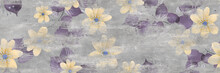 Yellow Flowers Pattern And Cement Texture Background