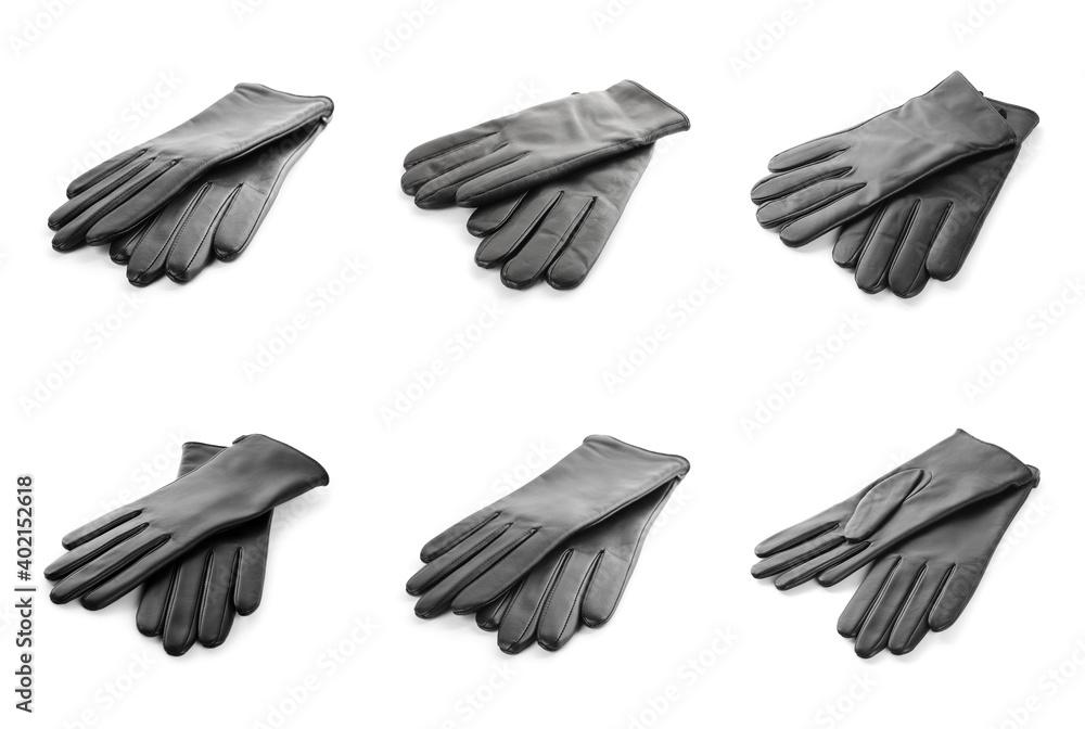 Fototapeta Set of leather gloves on white background