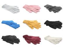 Set Of Woolen Gloves On White Background