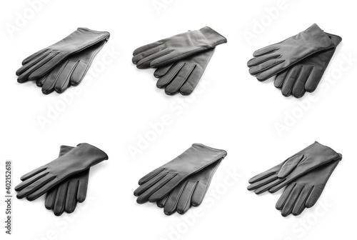 Fototapeta Set of leather gloves on white background obraz
