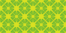 Green Floral Ornament On A Yellow Background. Seamless Wallpaper Texture. Vector Illustration For Design