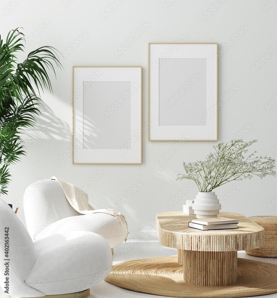 Fototapeta Mock up frame in cozy home interior background, 3d render
