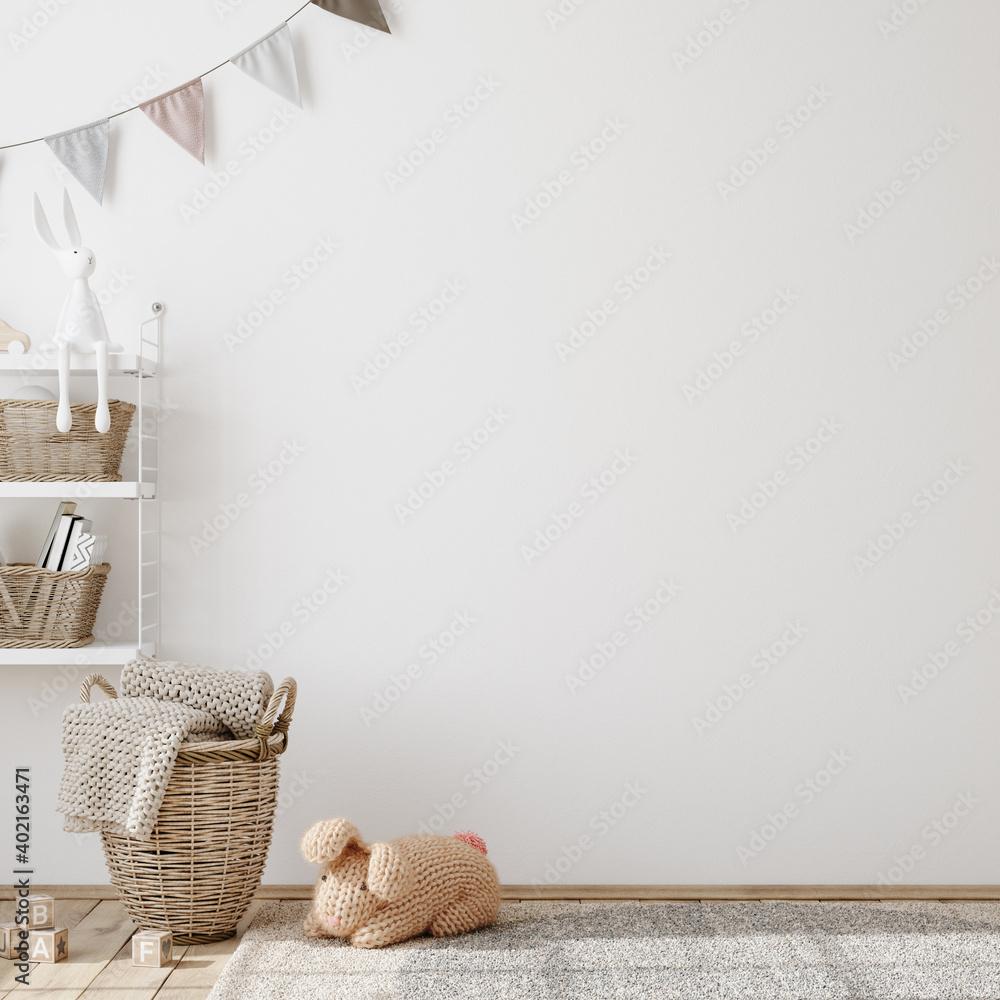 Fototapeta Wall mock up in children room interior background, 3D render