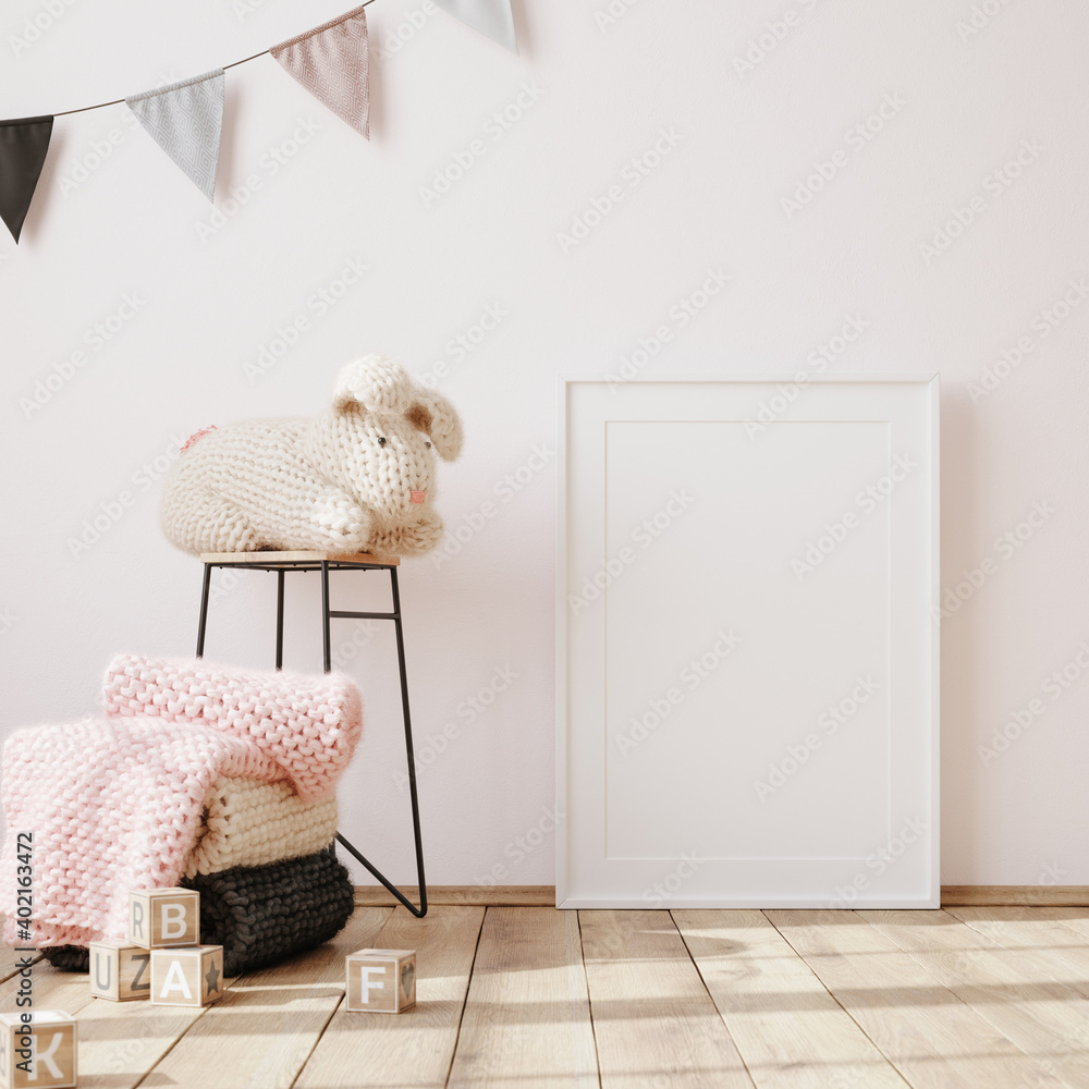 Fototapeta Mock up frame in children room interior background, 3D render