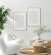 canvas print picture - Mock up frame in cozy home interior background, 3d render