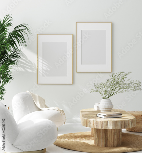 Mock up frame in cozy home interior background, 3d render