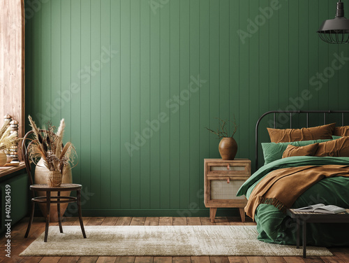 Fotografía Mockup frame in bedroom interior background, farmhouse style, 3d render