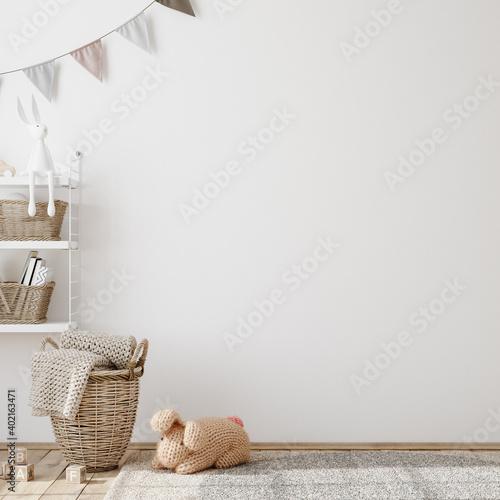Wall mock up in children room interior background, 3D render