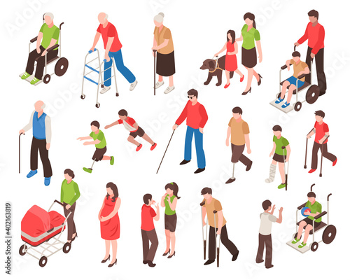 Canvastavla Disabled People Isometric Set