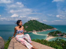 Woman Sit And Relax At Nangyuan Island View Point, Place For Tourist Destination At Suratthani, Thailand