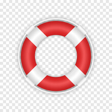 Realistic 3d Red Lifebuoy. Marine Rescue Lifeboat Illustration