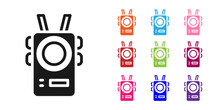 Black Police Body Camera Icon Isolated On White Background. Set Icons Colorful. Vector.