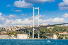 The Bosphorus Bridge, Or 15 July Martyrs Bridge,  One Of The Three Suspension Bridges Spanning The Bosphorus Strait ,  In Istanbul, Turkey