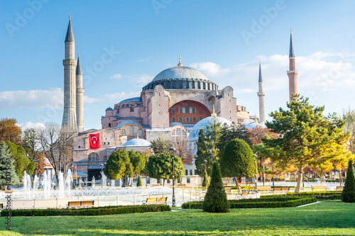 Hagia Sophia Holy Grand Mosque in the morning against blue sky in autumn in Ista Wallpaper Mural