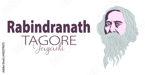 Fotografie, Obraz Vector Illustration of Rabindranath Tagore a poet and socialist from Bengal