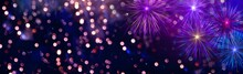 Christmas And New Year Background With Fireworks And Bokeh Lights