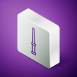 Isometric line Magic wand icon isolated on purple background. Star shape magic accessory. Magical power. Silver square button. Vector.