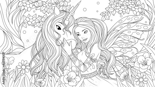 Vector illustration, lovely fairy and little unicorn in the fairy forest