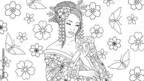 Fotografia, Obraz Vector illustration, beautiful geisha girl admires a flower