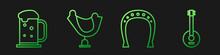 Set Line Horseshoe, Wooden Beer Mug, Wild West Saddle And Banjo. Gradient Color Icons. Vector.