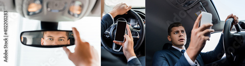 Photo Collage of businessman using smartphone and adjusting rearview mirror in auto, banner