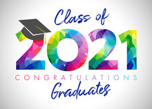 Class Of 2021 Year Graduation Banner, Awards Concept. Class Off Holiday Colour Invitation Card. 3D Digits 20, 21. Isolated Abstract Graphic Design Template. Brush Stroke Calligraphy. White Background.