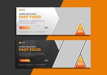 Super Delicious Fast Food Social Media Banner Template. Hot & Fresh Burger Or Pizza Sale Marketing Cover With Restaurant Logo. Healthy & Tasty Food Menu Design. Online Or Web Business Digital Banner
