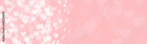 Billede på lærred Abstract red pink heart glitter light bokeh holiday and festive party background