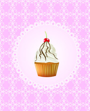 Pink Card With Cupcake, Vector