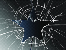 Vector Broken Glass Shattered In The Form Of Star. Isolated Cracked Glass Effect. Decorative Pattern Of Cracks On A Transparent Background. Glass With Hole.