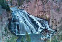 Long Exposure Close View Of Gibbon Falls In Yellowstone National Park Of Wyoming