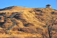 Gazebo Over Looks River As Long Staircase Folds Over Large Hillside Of Lethbridge, Alberta Park
