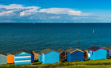 A Panorama View Across The Beach Huts At Tankerton Out Into The Thames Estuary In Summer
