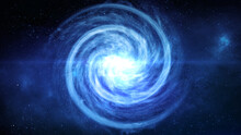 A Blue Spiral Galaxy Andromeda Top View With A Field Of Stars And A Core Bright Star With Lots Of Rays Soaring In The Infinite Cosmos Space