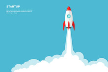 Rocket Ship Launch Background Vector. Concept Of Business Product On Market, Startup, Growth, Creative Idea.