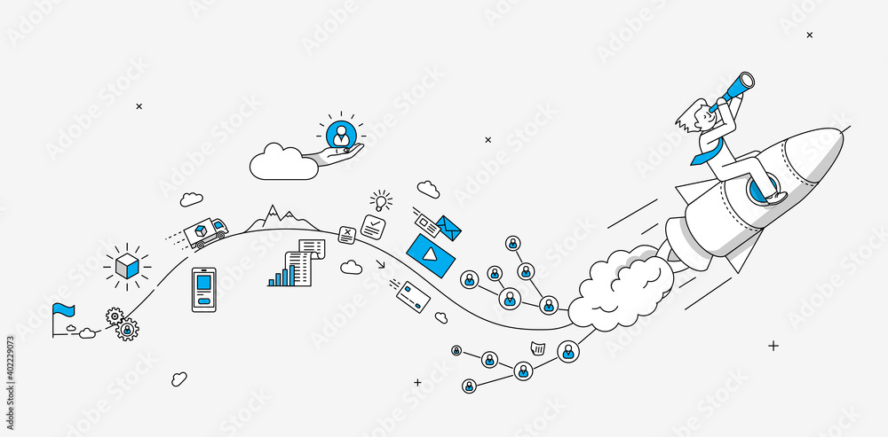 Fototapeta Startup online shopping company milestones infographics. Businessman looking to the future. Modern illustration in linear style.