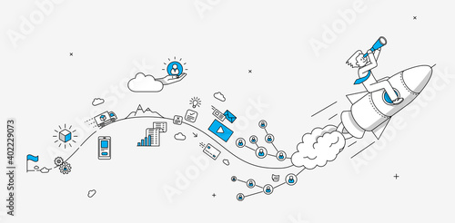 Startup online shopping company milestones infographics. Businessman looking to the future. Modern illustration in linear style. - fototapety na wymiar