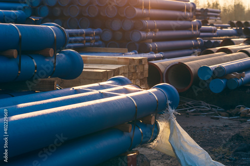 Obraz na plátne Cast iron pipes for sewerage ready for transportation and logistic