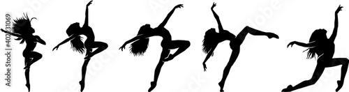 Billede på lærred Set of female dance pose silhouette
