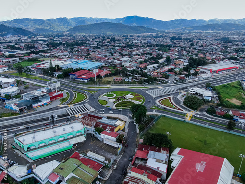 Beautiful aerial view of the Social guarantees Roundabout in Costa Rica Fotobehang
