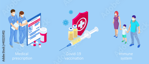 Fotografija Isometric Vaccination and Immunization, Time to vaccinate, Online medical advise, medical prescription concept