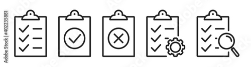 Checklist on the clipboard line icon set with compliance tick check sign on it. Clip board outline vector icon with paper test document or todo plan with tasks. Checkbox form and survey checklist SET1 - fototapety na wymiar