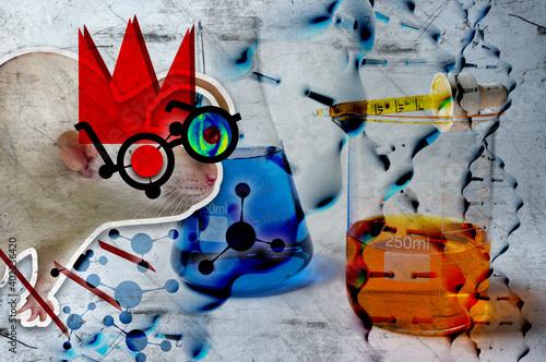 Fotografie, Obraz Lab Rat Abstract Collage 3D Illustration