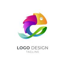 Colorful Chameleon Logo With Leaf Shape. Modern Lizard Gecko 3d Gradient Vibrant Color