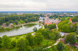 Talsi, Latvia, Baltics. Aerial view photo from flying drone panoramic to Talsi old town and new town on a sunny summer day. (Series)