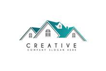 Simple Modern Home, House Or Real Estate Logo Design Vector Illustration