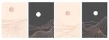 zestaw kreatywnego minimalistycznego nowoczesnego druku graficznego. Streszczenie górskie współczesne estetyczne tła krajobrazy. z górą, lasem, morzem, linią horyzontu, falą. ilustracje wektorowe