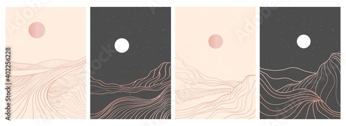 set of creative minimalist modern line art print. Abstract mountain contemporary aesthetic backgrounds landscapes. with mountain, forest, sea, skyline, wave. vector illustrations